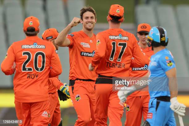 Mitch Marsh of the Perth Scorchers celebrates during the Big Bash League match between the Perth Scorchers and the Adelaide Strikers at Adelaide...