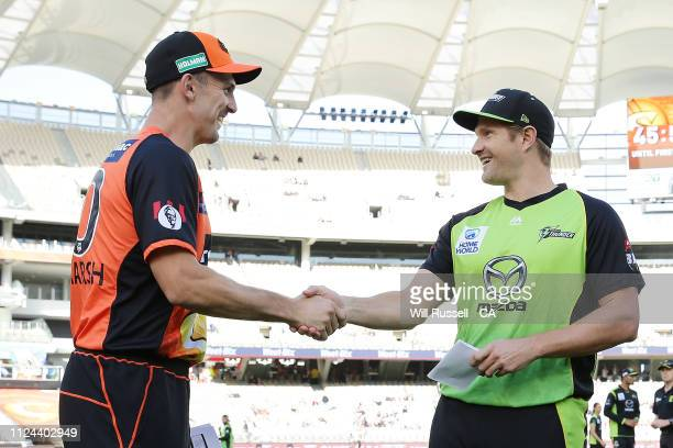 Mitch Marsh of the Scorchers and Shane Watson of the Thunder at the bat toss prior to the Big Bash League match between the Perth Scorchers and the...