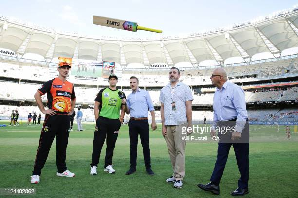 Mitch Marsh of the Scorchers and Shane Watson of the Thunder look on at the bat toss prior to the Big Bash League match between the Perth Scorchers...