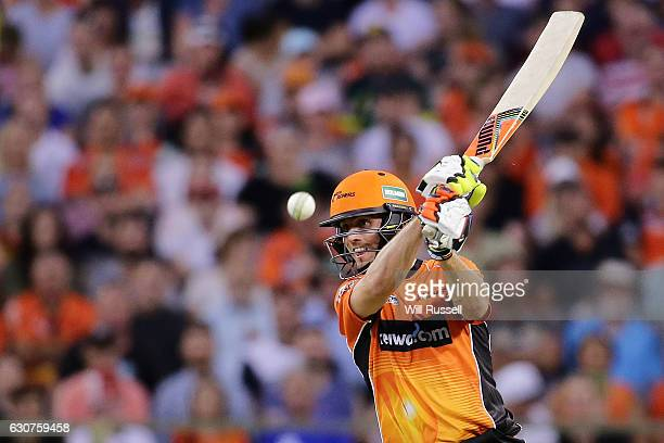 Mitch Marsh of the Scorchers bats during the Big Bash League match between the Perth Scorchers and Sydney Thunder at WACA on January 1 2017 in Perth...