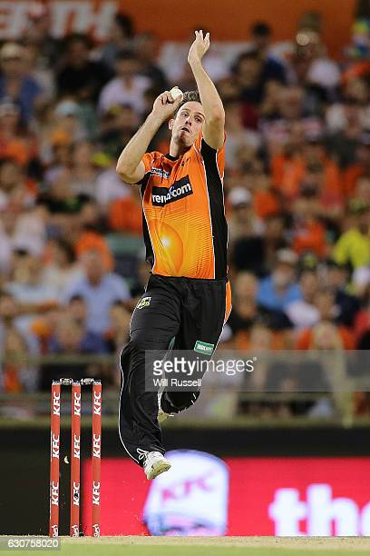 Mitch Marsh of the Scorchers bowls during the Big Bash League match between the Perth Scorchers and Sydney Thunder at WACA on January 1 2017 in Perth...