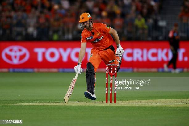 Mitch Marsh of the Scorchers runs to the crease during the Big Bash League match between the Perth Scorchers and the Melbourne Renegades at Optus...