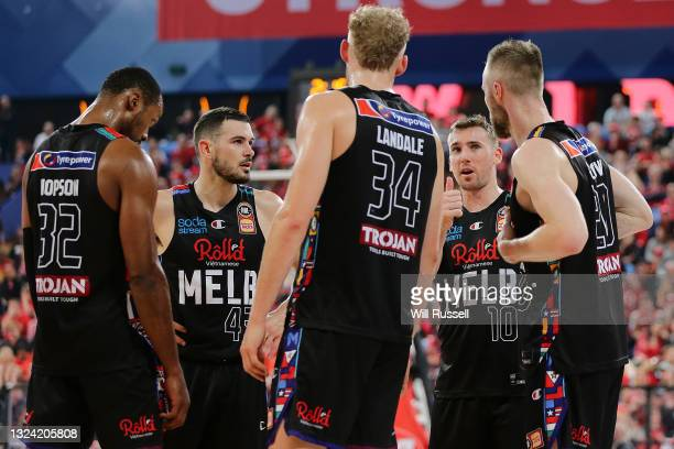 Mitch McCarron of Melbourne United addresses the team during game one of the NBL Grand Final Series between the Perth Wildcats and Melbourne United...