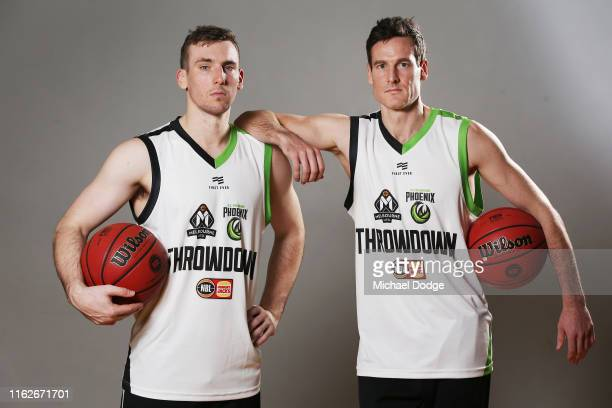 Mitch McCarron of Melbourne United and Ben Madgen of South East Melbourne Phoenix pose during a NBL media opportunity ahead of the season opening...