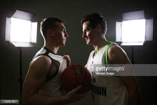 Mitch McCarron of Melbourne United and Ben Madgen of South East Melbourne Phoenix face off during a NBL media opportunity ahead of the season opening...