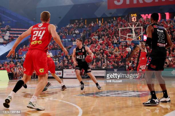 Mitch McCarron of Melbourne United brings the ball up the court during game one of the NBL Grand Final Series between the Perth Wildcats and...