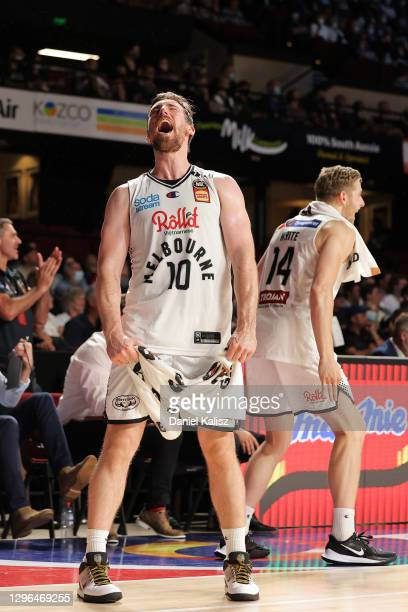 Mitch McCarron of Melbourne United celebrates during the round one NBL match between the Adelaide 36ers and Melbourne United at Adelaide...