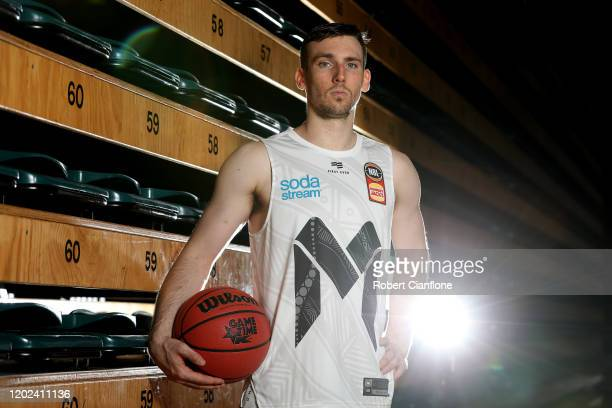 Mitch McCarron of Melbourne United poses during a Melbourne United NBL media opportunity at the Melbourne Sports and Aquatic Centre on January 28,...