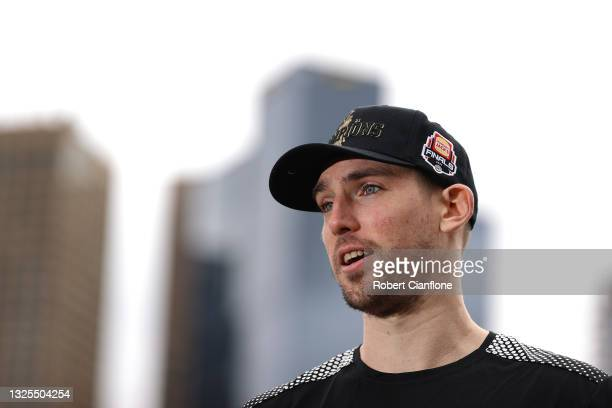Mitch McCarron of Melbourne United speaks to the media during a Melbourne United NBL media opportunity after United won last night's NBL Grand Final,...