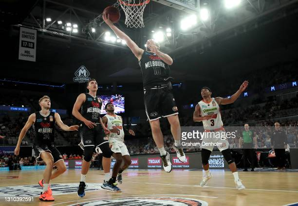 Mitch McCarron of United shoots during the round 12 NBL match between Melbourne United and the Cairns Taipans at John Cain Arena, on April 02 in...