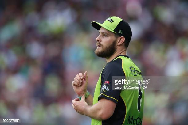 Mitch McClenaghan of the Thunder looks on during the Big Bash League match between the Sydney Thunder and the Hobart Hurricanes at Spotless Stadium...