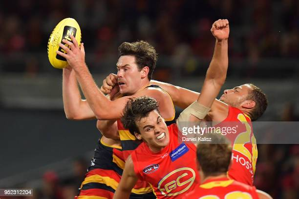 Mitch McGovern of the Crows marks the ball during the round six AFL match between the Adelaide Crows and Gold Coast Suns at Adelaide Oval on April 28...