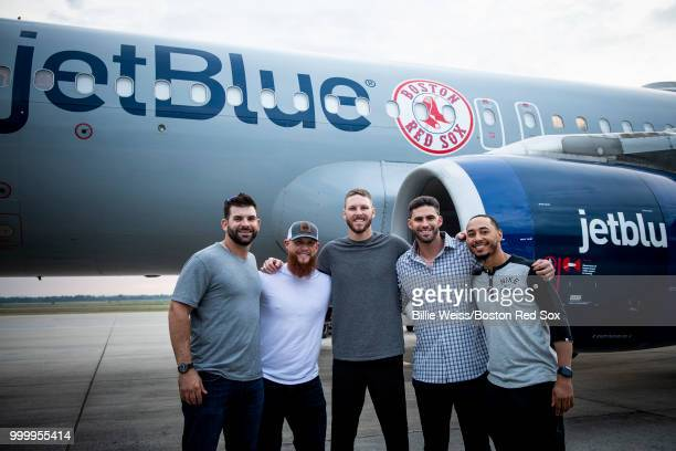 Mitch Moreland Craig Kimbrel Chris Sale JD Martinez and Mookie Betts of the Boston Red Sox pose for a photograph outside the plane during a team...