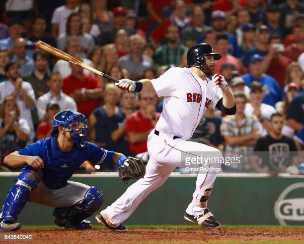 Mitch Moreland of the Boston Red Sox at bat during the game against the Toronto Blue Jays at Fenway Park on September 5 2017 in Boston Massachusetts