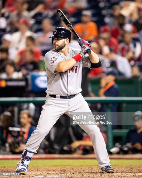 Mitch Moreland of the Boston Red Sox bats during the tenth inning of the 89th MLB AllStar Game at Nationals Park Tuesday July 17 2018 in Washington DC