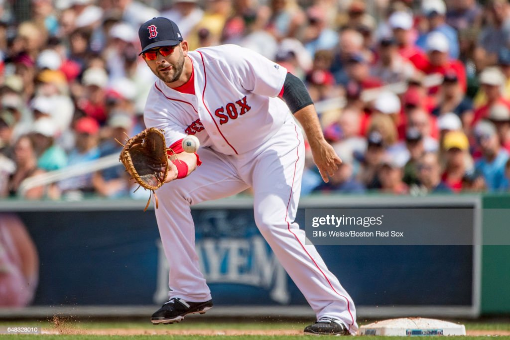 Mitch Moreland #18 of the Boston Red Sox catches a throw during the second inning of a Spring Training game against the Atlanta Braves on March 5, 2017 at Fenway South in Fort Myers, Florida .