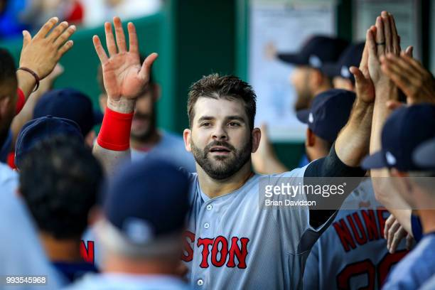Mitch Moreland of the Boston Red Sox celebrates scoring a run against the Kansas City Royals during the fifth inning at Kauffman Stadium on July 7...