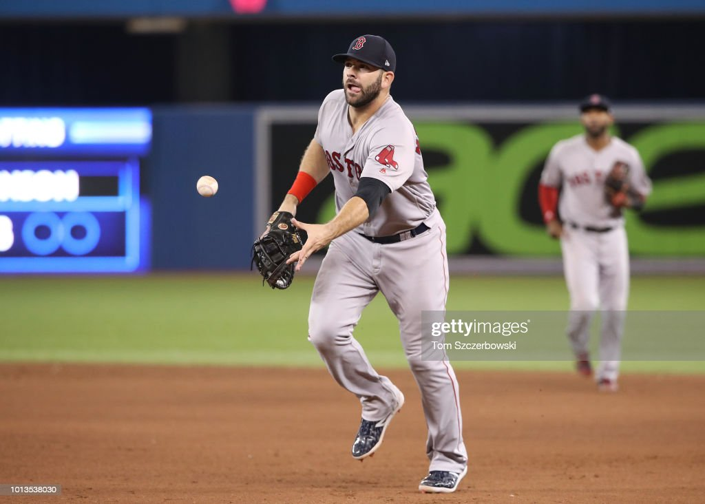Mitch Moreland #18 of the Boston Red Sox flips the ball to the pitcher covering first base to get the base runner in the eighth inning during MLB game action against the Toronto Blue Jays at Rogers Centre on August 8, 2018 in Toronto, Canada.