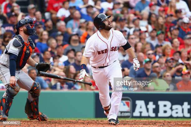 Mitch Moreland of the Boston Red Sox hits a double in the third inning against the Houston Astros during game three of the American League Division...