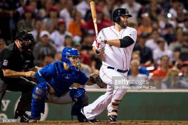 Mitch Moreland of the Boston Red Sox hits an RBI single during the seventh inning of a game against the Toronto Blue Jays on September 4 2017 at...