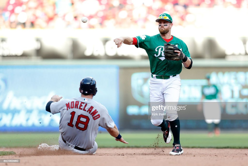 Mitch Moreland #18 of the Boston Red Sox is forced out at second base as Zack Cozart #2 of the Cincinnati Reds throws the ball to first base to complete a double play in the eighth inning at Great American Ball Park on September 23, 2017 in Cincinnati, Ohio. Boston defeated Cincinnati 5-0.