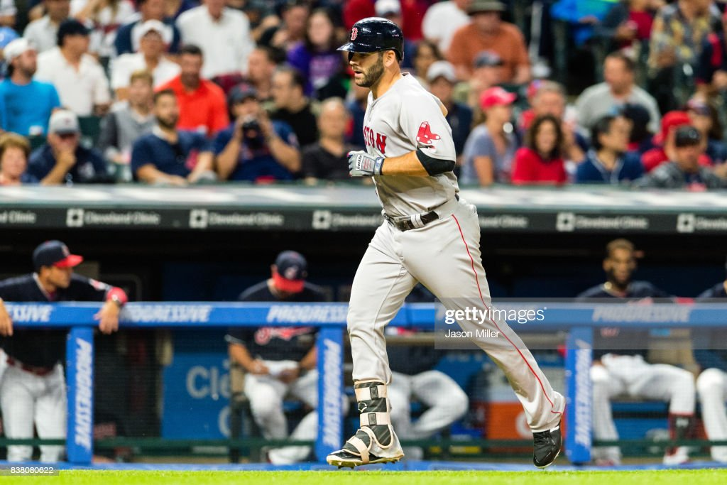 Mitch Moreland #18 of the Boston Red Sox rounds the bases after hitting a solo home run during the fifth inning against the Cleveland Indians at Progressive Field on August 23, 2017 in Cleveland, Ohio.