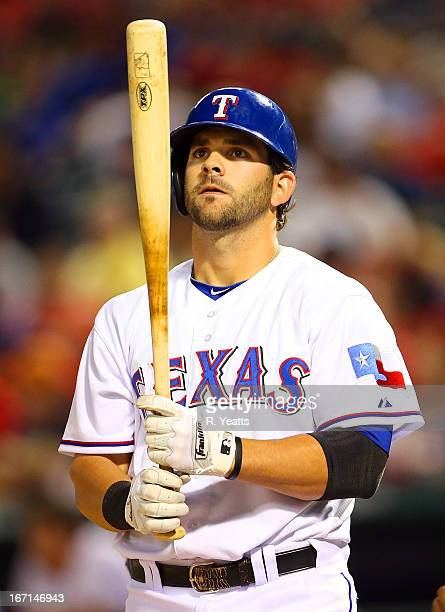 Mitch Moreland of the Texas Rangers hits against the Tampa Bay Rays at Rangers Ballpark in Arlington on April 9 2013 in Arlington Texas