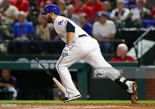 Mitch Moreland of the Texas Rangers hits in the second inning against the Milwaukee Brewers at Globe Life Park in Arlington on September 27 2016 in...
