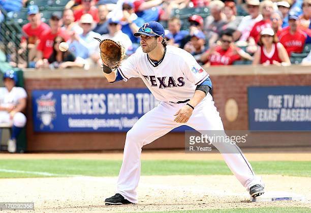 Mitch Moreland of the Texas Rangers in action in the interleague game against the Arizona Diamondbacks at Rangers Ballpark in Arlington on May 30...