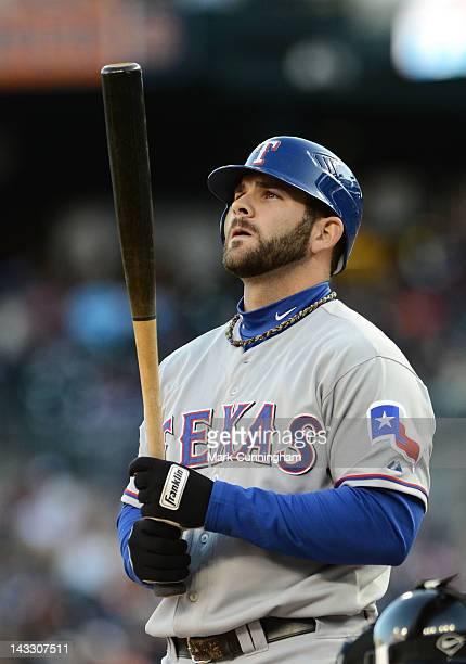 Mitch Moreland of the Texas Rangers looks on while batting during the game against the Detroit Tigers at Comerica Park on April 21 2012 in Detroit...