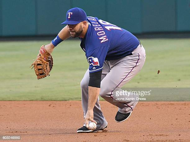 Mitch Moreland of the Texas Rangers makes a play during the game against the Los Angeles Angels of Anaheim at Angel Stadium of Anaheim on September...