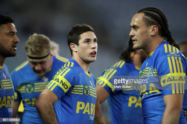 Mitch Moses of the Eels looks dejected after a Warriors try during the round 13 NRL match between the Parramatta Eels and the New Zealand Warriors at...