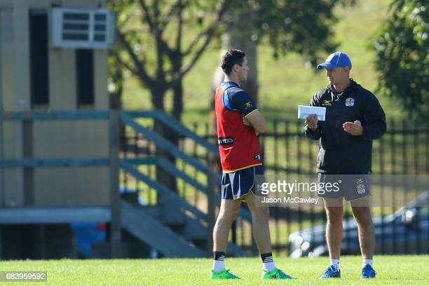 Mitch Moses of the Eels speaks to head coach Brad Arthur during a Parramatta Eels NRL training session at the Old Saleyards Reserve on May 17 2017 in...