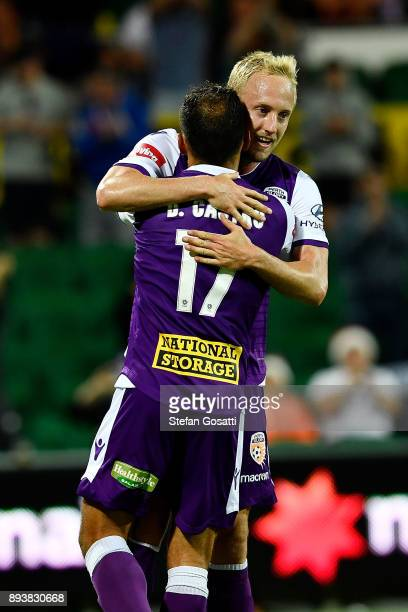 Mitch Nichols of the Glory congratulates Diego Castro of the Glory during the round 11 ALeague match between the Perth Glory and the Wellington...