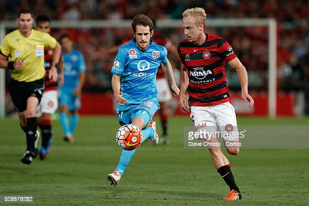 Mitch Nichols of the Wanderers attacks the goal against United in the round 13 match between the Western Sydney Wanderers and Adelaide United at...