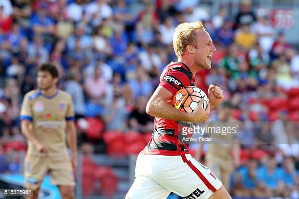 Mitch Nichols of the Wanderers celebrates his goal during the round 23 ALeague match between the Newcastle Jets and the Western Sydney Wanderers at...
