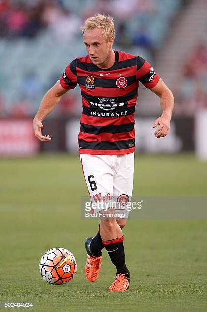 Mitch Nichols of the Wanderers controls the ball during the round 12 ALeague match between the Western Sydney Wanderers and Newcastle Jets at Pirtek...