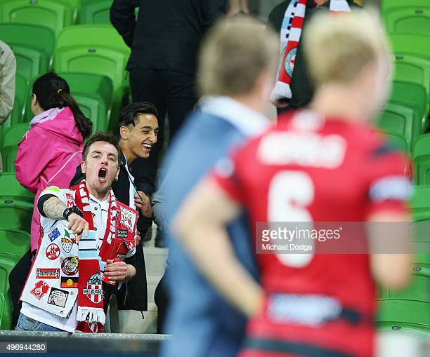 Mitch Nichols of the Wanderers cops abuse from City fans in his post match television interview during the round six ALeague match between Melbourne...