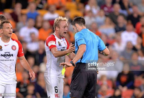 Mitch Nichols of the Wanderers debates with referee Jarred Gillett over a penalty decision during the ALeague Elimination Final match between the...
