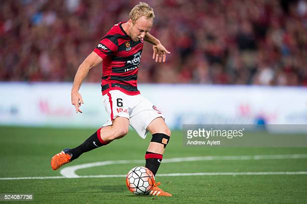Mitch Nichols of Western Sydney Wanderers takes a shot at the goal during the round 15 ALeague match between Sydney FC and the Western Sydney...