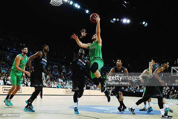 Mitch Norton of the Crocodiles lays the ball up during the Round 17 NBL match between the New Zealand Breakers and Townsville Crocodiles at Vector...