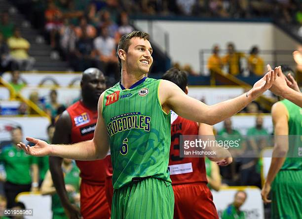 Mitch Norton of the Crocodiles reacts after a referee call during the round 11 NBL match between the Townsville Crocodiles and the Perth Wildcats on...