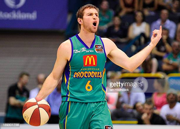 Mitch Norton of the Crocodiles yells to his team mates during the round 14 NBL match between the Townsville Crocodiles and the New Zealand Breakers...