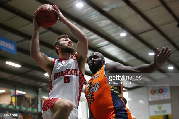 Mitch Norton of the Perth Wildcats drives at the basket during the 2018 NBL Blitz match between the Cairns Taipans and Perth Wildcats at Ballarat...