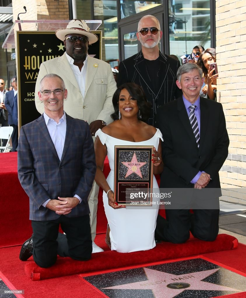 Mitch O'Farrell, Cedric the Entertainer, Niecy Nash, Ryan Murphy and Leron Gubler pose for a photo as Niecy Nash is honored with a star on the Hollywood Walk Of Fame on July 11, 2018 in Hollywood, California.
