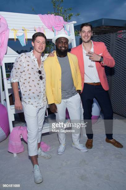 Mitch Prevot Dallas Torrington and Eric Anderson attend the Mery Playa Swimwear Launch on June 20 2018 in New York City
