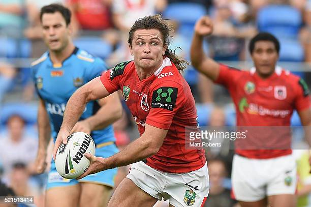 Mitch Rein of the Dragons looks to pass the ball during the round seven NRL match between the Gold Coast Titans and the St George Illawarra Dragons...