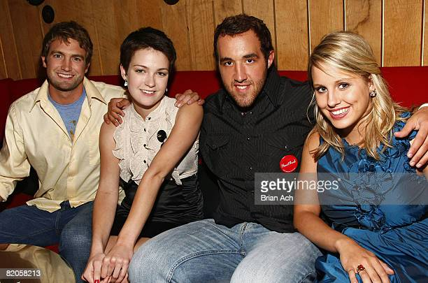 """Mitch Reinholt, Hannah Bailey, Colin Clemens, Megan Krizmanich attend the after party for """"American Teen"""" at Pop Burger on July 24, 2008 in New York..."""