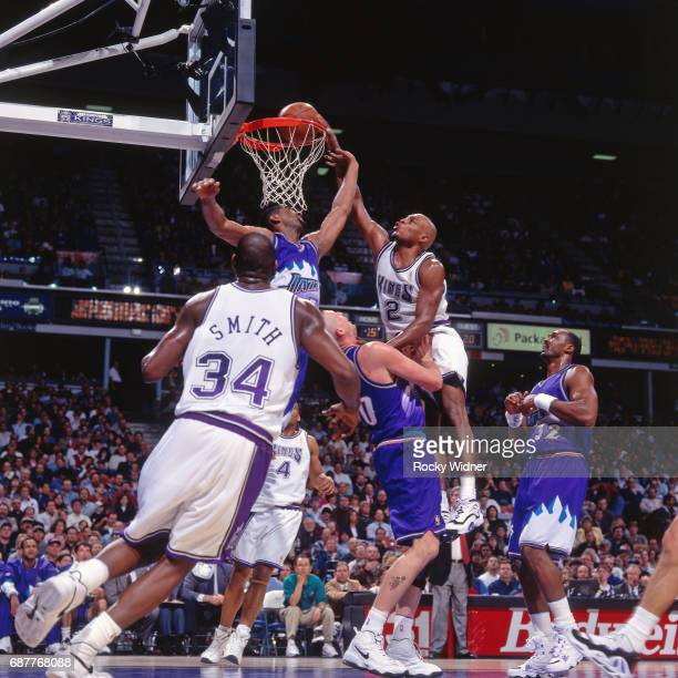 Mitch Richmond of the Sacramento Kings dunks against the Utah Jazz circa 1996 at Arco Arena in Sacramento California NOTE TO USER User expressly...