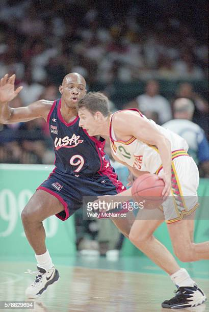 Mitch Richmond of the USA guards Lithuanian player Arturas Karnisovas during the 1996 Atlanta Olympic Games The US would win the game 10482